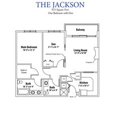 Apartment Floorplan: The Jackson. 1BR + Den. 925 sf