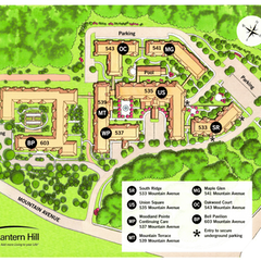 Map of the Lantern Hill Campus. All buildings are connected via an enclosed, climate controlled walkway.