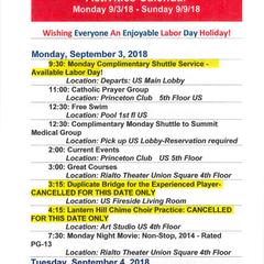 Sample weekly calendar from September 2018