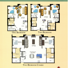 Floorplans for one bedroom, two bedroom, and two bedroom combo suites.