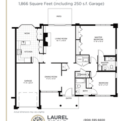 Villa Floorplan: 2BR + Garage. 1866 sf