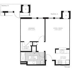 Floorplan: The Bayberry. 1BR/1Bath. 701sf