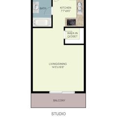 Floorplan: Studio. 348 Sf