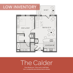 Floorplan: The Calder. 1BR