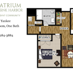 Apartment Floorplan: The Yankee. 1BR. 840 sf. East Tower
