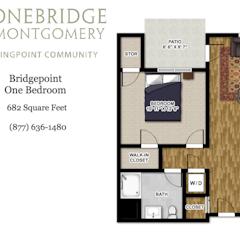Apartment Floorplan: The Bridgepoint. 1BR. 682 sf