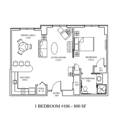 Apartment Floorplan: 1BR. 800 sf