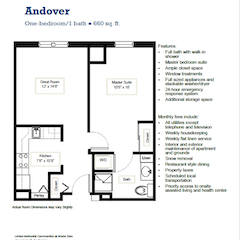 Floorplan: Metcalf Woods. The Andover. 1BR. 660 sf