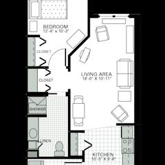 Floorplan: 1BR. 658 sf