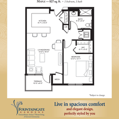 Parkview Floorplan: The Maple. 1BR. 827 sf