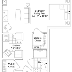 Floorplan: The Abbott. Deluxe Studio